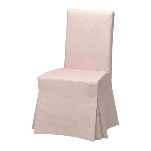 HENRIKSDAL Chair cover, long, Gunnared pale pink