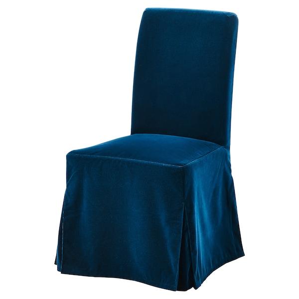 HENRIKSDAL Chair cover, long - Djuparp dark green-blue - IKEA