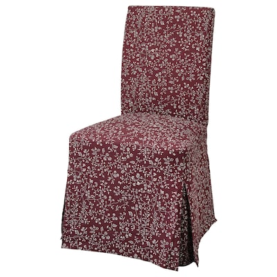 HENRIKSDAL Chair with long cover, dark brown/Ryrane dark red