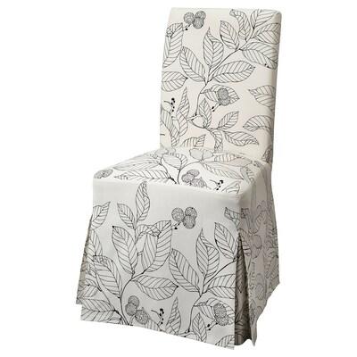 "HENRIKSDAL chair with long cover brown/Vislanda black/white 243 lb 20 1/8 "" 22 7/8 "" 38 1/4 "" 20 1/8 "" 16 1/2 "" 18 1/2 """