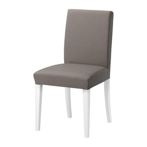 HENRIKSDAL Chair, white, Nolhaga gray-beige Nolhaga gray-beige white -