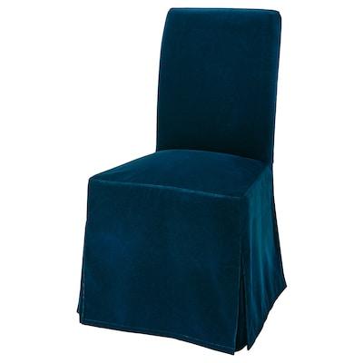 "HENRIKSDAL chair dark brown/Djuparp dark green-blue 243 lb 20 1/8 "" 22 7/8 "" 38 1/4 "" 20 1/8 "" 16 1/2 "" 18 1/2 """