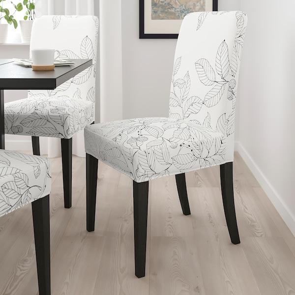 "HENRIKSDAL chair dark brown/Vislanda black/white 243 lb 20 1/8 "" 22 7/8 "" 38 1/4 "" 20 1/8 "" 16 1/2 "" 18 1/2 """