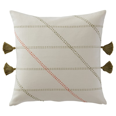 HERVOR Cushion cover, handmade off-white, 20x20 ""