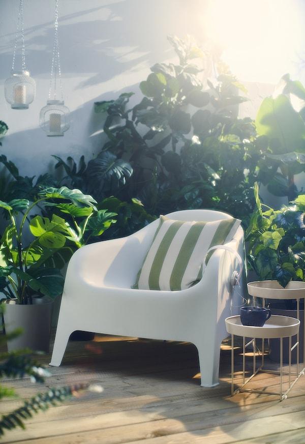 """HILDAMARIA Cushion cover, green natural/stripe, 20x20 """""""