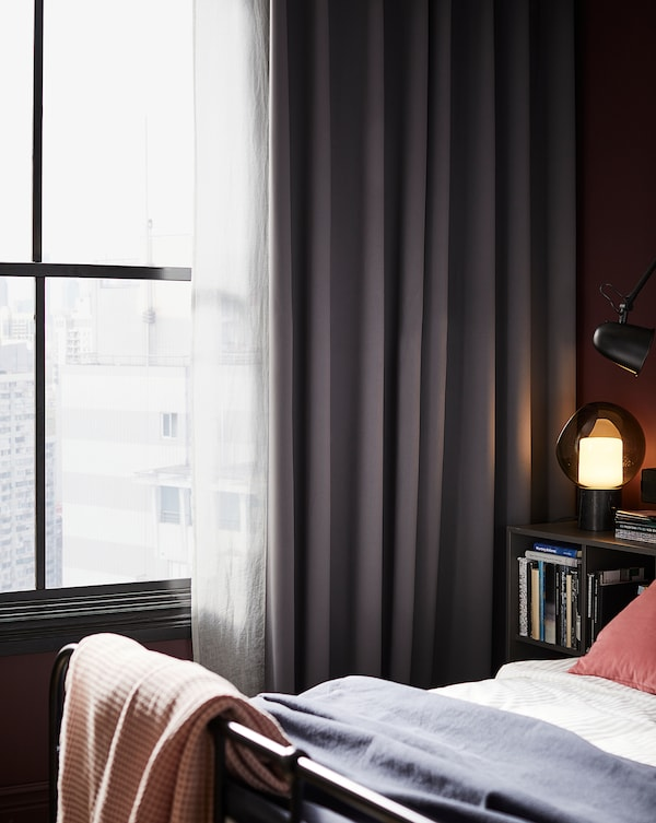 "HILLEBORG Blackout curtains, 1 pair, gray, 57x98 """