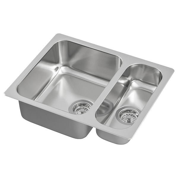 1 1/2 bowl dual mount sink HILLESJÖN stainless steel