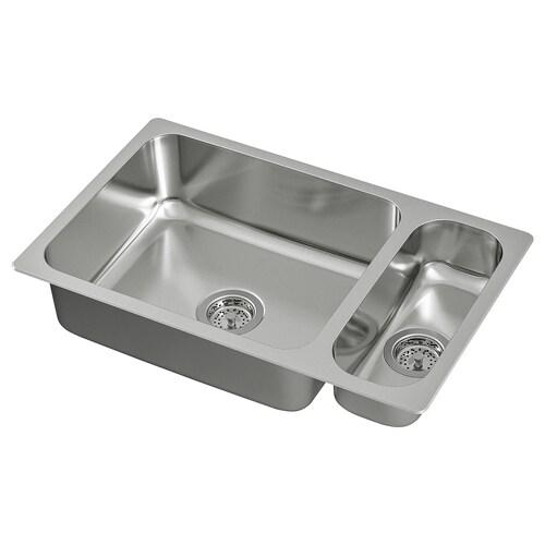 "HILLESJÖN 1 1/2 bowl dual mount sink stainless steel 17 3/8 "" 28 3/4 "" 7 1/8 "" 19 5/8 "" 15 3/4 "" 10 gallon 4 3/4 "" 6 1/4 "" 15 3/4 "" 2 gallon 18 1/8 "" 29 1/2 "" 18 1/8 """
