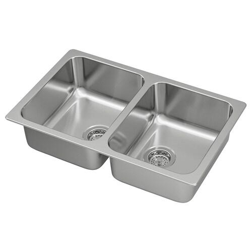 "HILLESJÖN double bowl top mount sink stainless steel 17 3/8 "" 28 3/4 "" 7 1/8 "" 13 "" 15 3/4 "" 5 gallon 7 1/8 "" 13 "" 15 3/4 "" 5 gallon 18 1/8 "" 29 1/2 "" 18 1/8 """