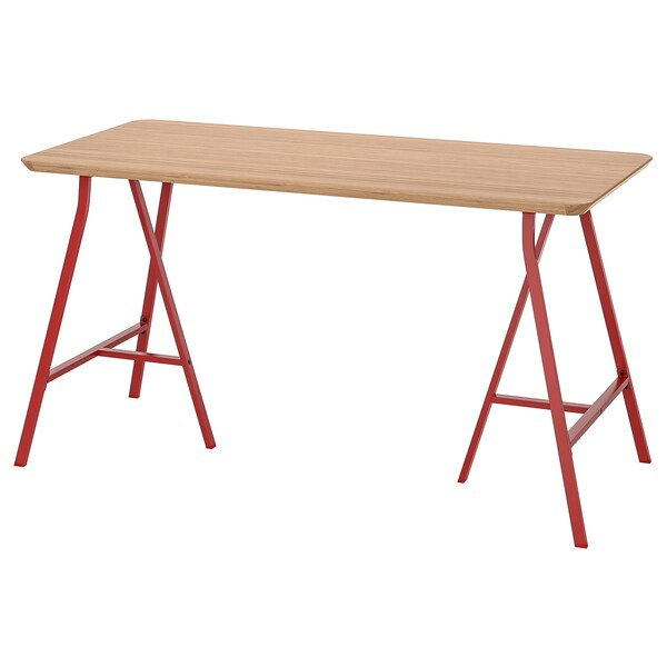 """HILVER / LERBERG table bamboo/red 55 1/8 """" 25 5/8 """""""