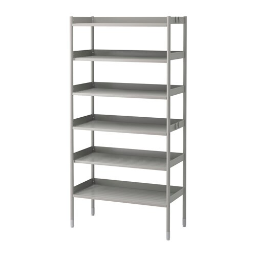 HINDÖ Shelf unit, indoor/outdoor IKEA Also stands steady on an uneven floor since the feet can be adjusted.