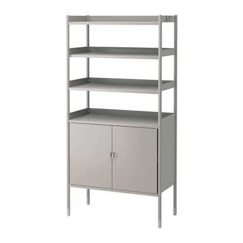 HINDÖ Shelf unit w/cabinet, in/outdoor IKEA Also stands steady on an uneven floor since the feet can be adjusted.