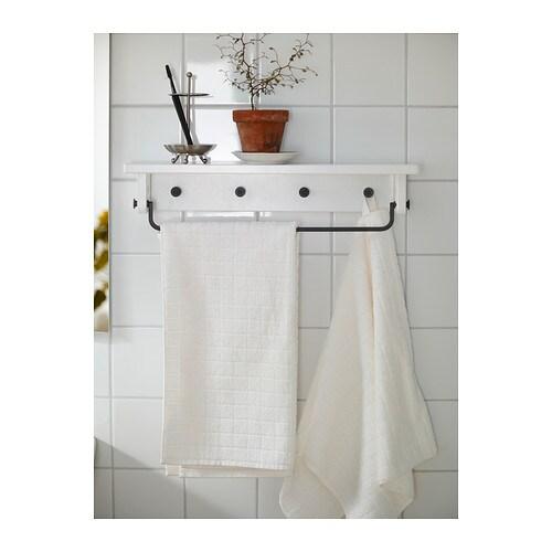 HJ LMAREN Towel hanger shelf black brown stain IKEA. Towel Shelf Ikea