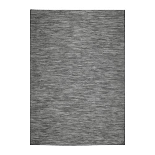 HODDE Alfombra de tejido plano, interior/exterior, gris interior/exterior, negra