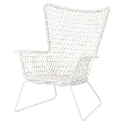 """HÖGSTEN armchair, outdoor white 29 1/8 """" 30 3/4 """" 36 5/8 """" 17 3/8 """" 19 5/8 """" 13 """""""