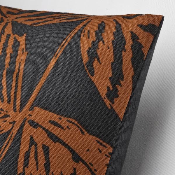 "HÖSTKVÄLL Cushion cover, leaf pattern black/orange, 20x20 """