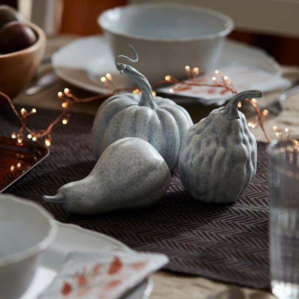 HÖSTKVÄLL Decoration pumpkin, set of 3, gray
