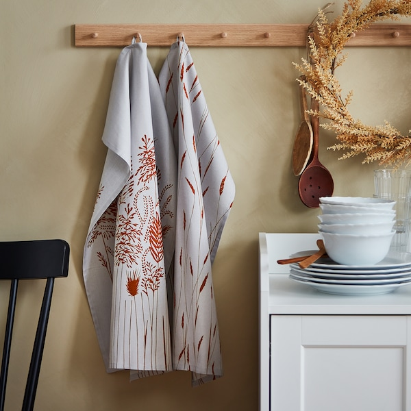 """HÖSTKVÄLL Dish towel, gray, 20x28 """""""