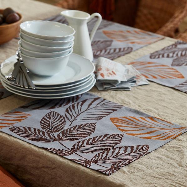 "HÖSTKVÄLL Place mat, gray, 14x18 """