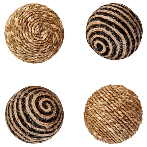 "HÖSTMYS decoration, ball beige/black 3 "" 4 pack"