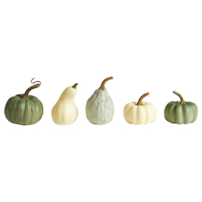 HÖSTPROMENAD Decoration pumpkin, set of 5, green/off-white