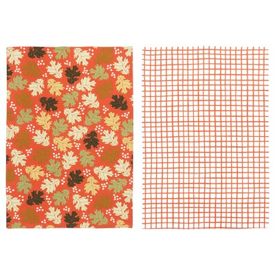 HÖSTPROMENAD Dish towel, mixed patterns orange, 20x28 ""