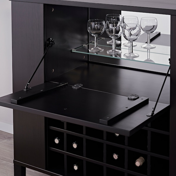 Hoghem Bar Cabinet Black Brown Ikea