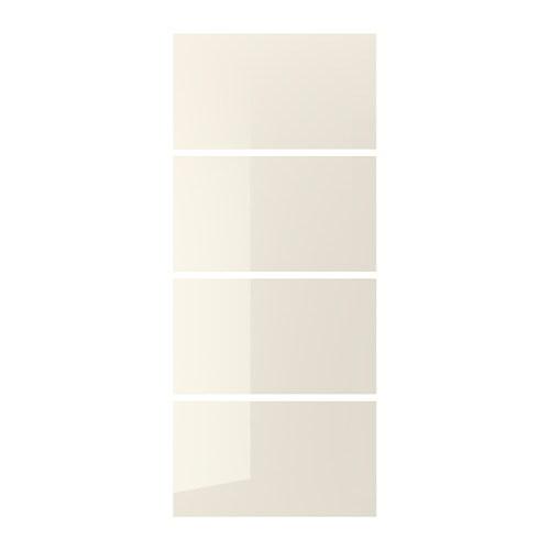 HOKKSUND 4 panels for sliding door frame, high gloss light beige light on