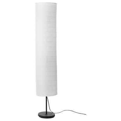 HOLMÖ Floor lamp with LED bulb, white