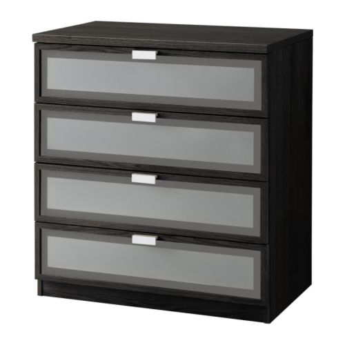 HOPEN 4-drawer chest , black-brown, frosted glass Width: 31 1/2