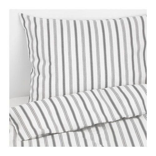 HÖSTÖGA Duvet cover and pillowcase(s), stripe, gray stripe/gray Full/Queen (Double/Queen)