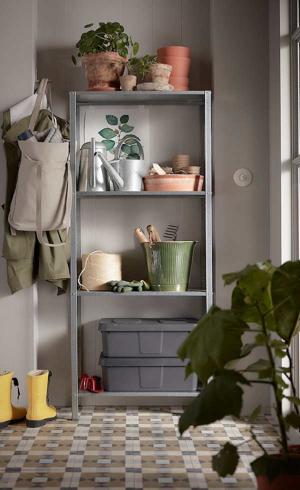 """HYLLIS Shelf unit, indoor/outdoor, 23 5/8x10 5/8x55 1/8 """""""