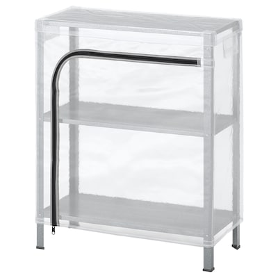 HYLLIS Shelf unit with cover, clear, 23 5/8x10 5/8x29 1/8 ""