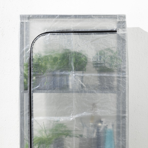 "HYLLIS Shelf unit with cover, clear, 23 5/8x10 5/8x55 1/8 """