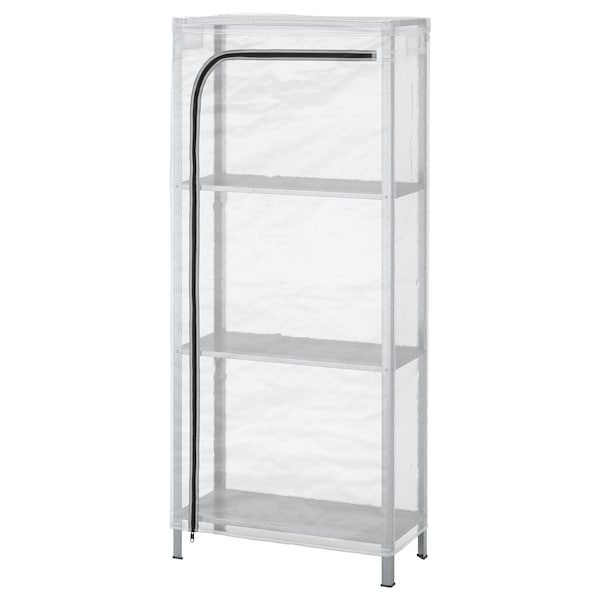"""HYLLIS shelf unit with cover clear 23 5/8 """" 10 5/8 """" 55 1/8 """""""