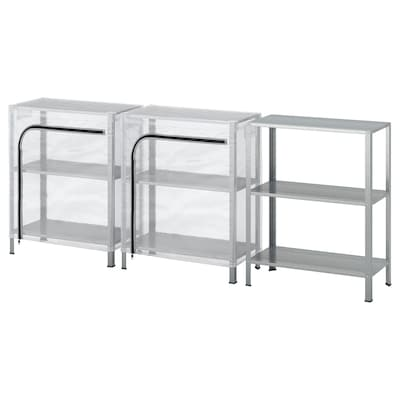 """HYLLIS Shelving units with covers, clear, 70 7/8x10 5/8x29 1/8 """""""
