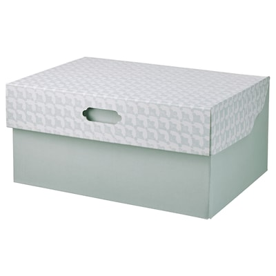 HYVENS Storage box with lid, gray-green white/paper, 13x9x6 ""