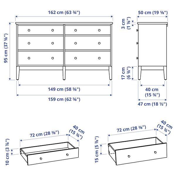 """IDANÄS 6-drawer dresser, white, 63 3/4x37 3/8 """""""