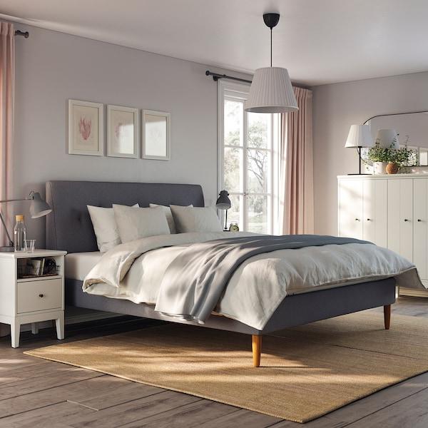 IDANÄS Upholstered bed frame, Gunnared dark gray, King