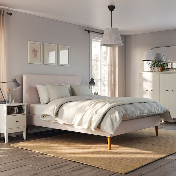 IDANÄS Upholstered bed frame, Gunnared pale pink, Queen
