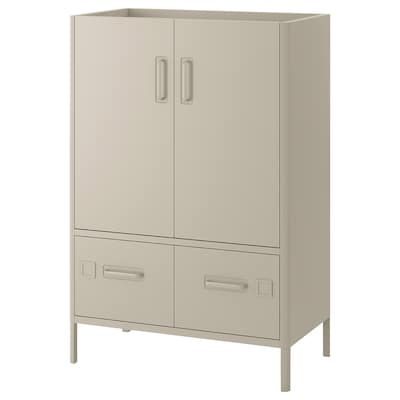 IDÅSEN Cabinet with doors and drawers, beige, 31 1/2x18 1/2x46 7/8 ""