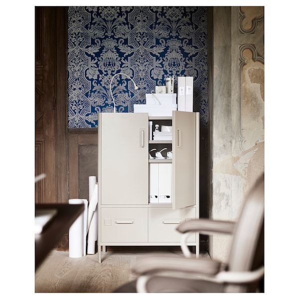 """IDÅSEN Cabinet with doors and drawers, beige, 31 1/2x18 1/2x46 7/8 """""""