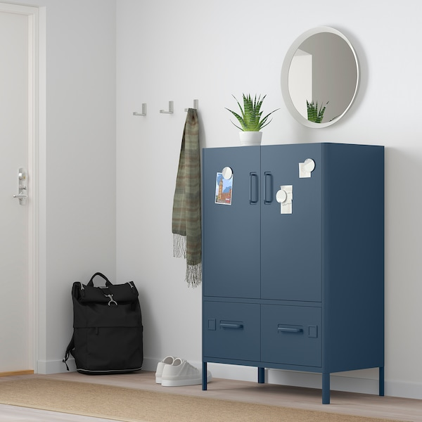 IDÅSEN Cabinet with doors and drawers, blue, 31 1/2x18 1/2x46 7/8 ""
