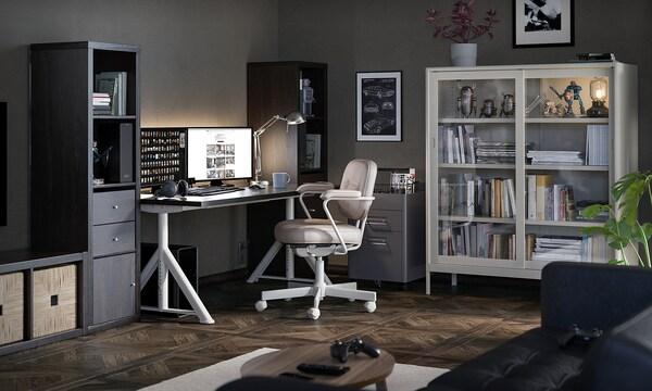"IDÅSEN Desk, black/beige, 63x31 1/2 """