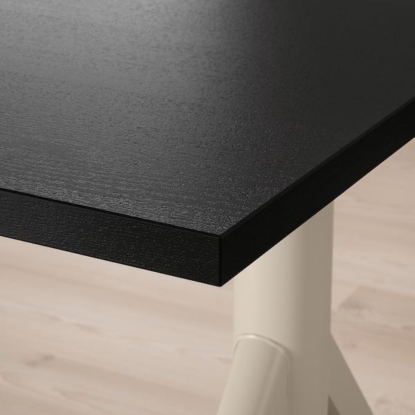 "IDÅSEN Desk sit/stand, black/beige, 63x31 1/2 """