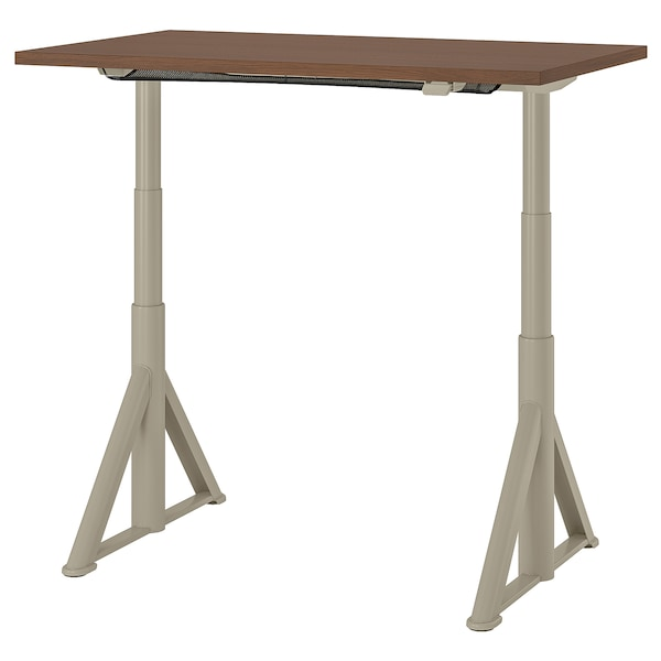 "IDÅSEN desk sit/stand brown/beige 47 1/4 "" 27 1/2 "" 24 3/4 "" 50 "" 154 lb"