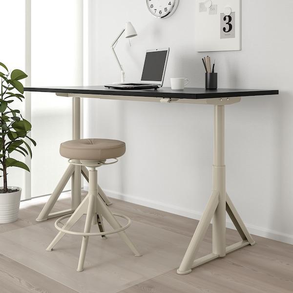 "IDÅSEN desk sit/stand black/beige 63 "" 31 1/2 "" 24 3/4 "" 50 "" 154 lb"