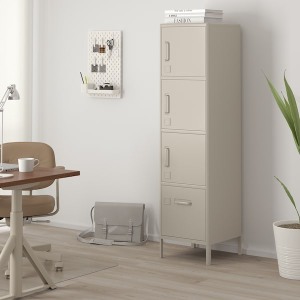 IDÅSEN High cabinet with drawer and doors, beige, 17 3/4x67 3/4 ""
