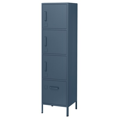 IDÅSEN High cabinet with drawer and doors, blue, 17 3/4x67 3/4 ""