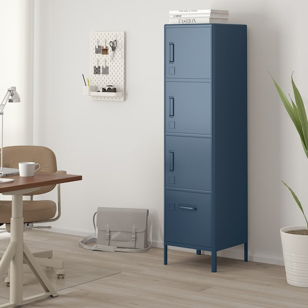 "IDÅSEN High cabinet with smart lock, blue, 17 3/4x67 3/4 """